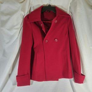 Jackets & Blazers - Large Red Wool Pea Coat EUC